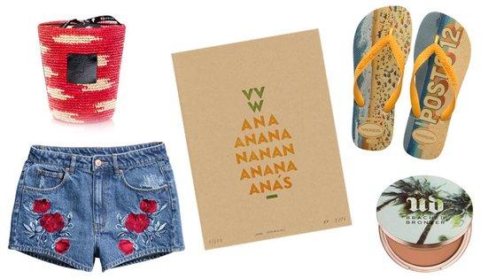 No sentido dos ponteiros do relógio: calções H&M loves Coachela, vela Baobab Collection, serigrafia Serrote, chinelos Havaianas e pó bronzeador Urban Decay.