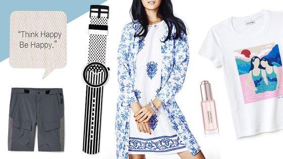 No sentido dos ponteiros do relógio: calções Mango, placa Stradivarius, relógio Swatch Pop, vestido e camisa Benetton, perfume Flower Bomb Precious Oil, t-shirt Lacoste Kids X Sara Andreasson.