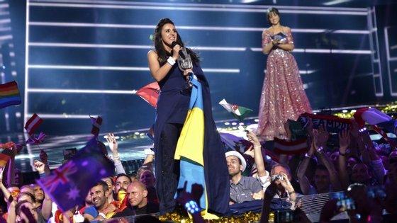A vencedora do concurso deste ano, representando a Ucrânia