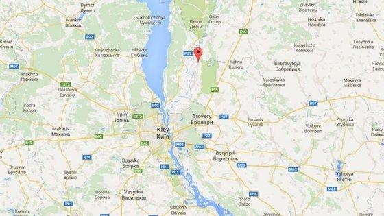Litochky (assinalado a vermelho) fica a norte da capital ucraniana, Kiev