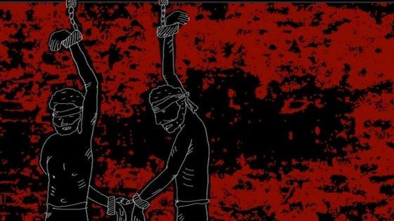 A ilustração que aparece na capa do relatório da Amnistia Internacional