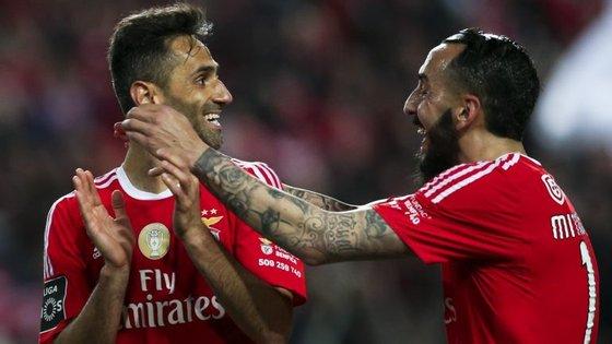 Jonas e Mitroglou, os autores dos dois golos do Benfica