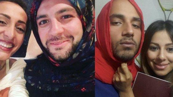 As fotografias dos homens a usar o véu estão a ser partilhadas nas redes sociais com a hashtag #MenInHijab.