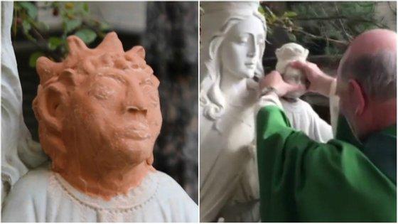 A cabeça original foi reposta este domingo na estátua