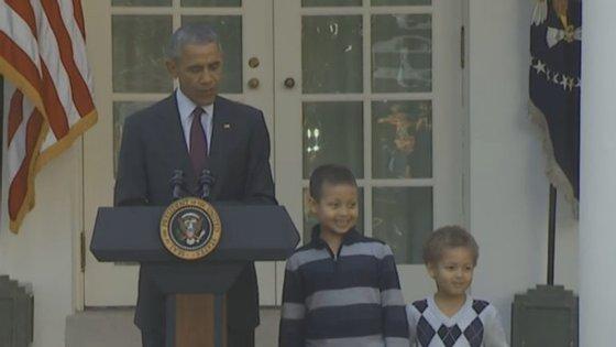 Após este momento mais descontraído, o discurso de Barack Obama abordou os pontos positivos que devem deixar a América contente