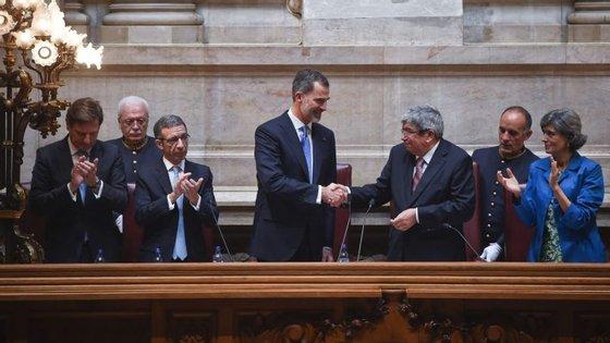 Ferro recebeu o rei de Espanha na Assembleia da República