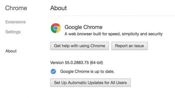 """Pode antecipar a atualização automática do browser Chrome clicando em """"Preferências > Acerca de"""""""