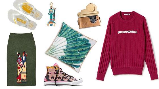 Da esquerda para a direita, no sentido dos ponteiros do relógio: saia (e porta-chaves) Benetton X Stella Jean, Havaianas de ano novo, smartphone Kodak Ektra, camisola Lacoste, almofada Primark e ténis Converse X Andy Warhol.