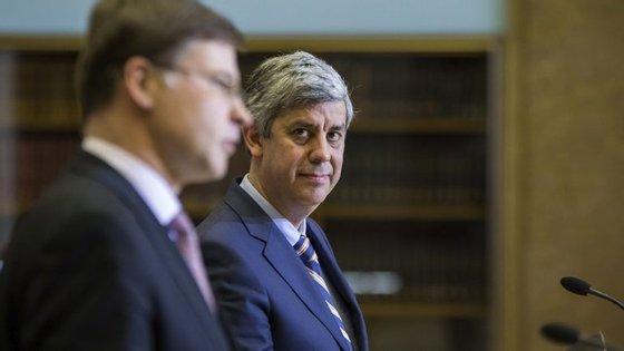 Valdis Dombrovskis, o vice-presidente da Comissão para euro, que esteve em Lisboa no início de 2017