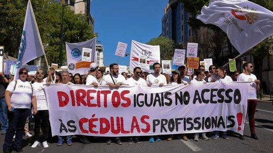 A manifestação arrancou do Marquês de Pombal em direção à Assembleia da República