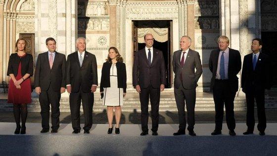 O encontro na cidade de Lucca, na Toscânia, junta os chefes da diplomacia dos sete países mais industrializados do mundo