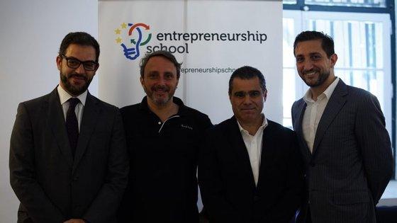 Duarte Cordeiro, Luca Selva, Tiago Santos Lima e Andrea Gerosa no lançamento da Escola de Empreendedorismo