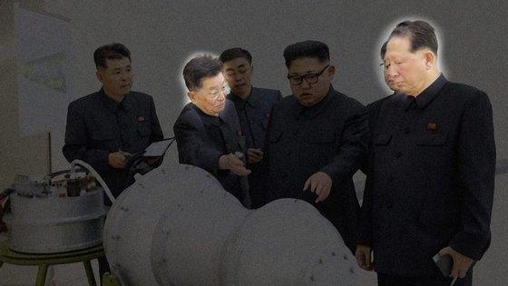 Ri Hong Sop (à esquerda) e Hong Sung Mu (à direita) aparecem sempre ao lado de Kim Jong Un nas imagens divulgadas pelo regime