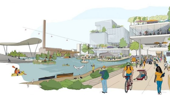 O esboço final propõe um espaço verde com tecnologia integrada