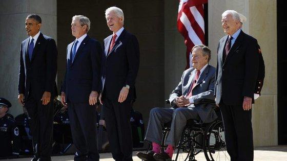 A última vez que os cinco estiveram juntos foi em 2013, quando Obama era Presidente dos Estados Unidos da América