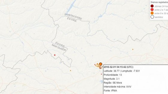 O sismo teve epicentro 6 quilómetros a nordeste de Arraiolos