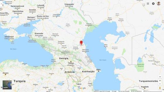 A localização de Kizlyar na província do Daguestão, no sul da Rússia