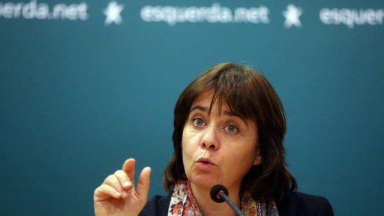 Catarina Martins, líder do Bloco de Esquerda, falava em Santa Maria da Feira