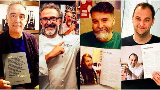 Ferran Adrià, Massimo Bottura, Nuno Mendes e Daniel Humm com o livro de Wengorovius