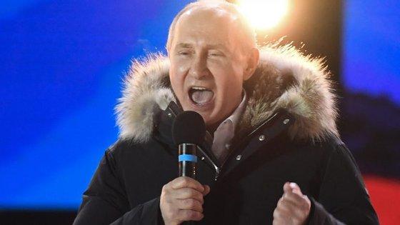 Vladimir Putin no seu discurso de vitória