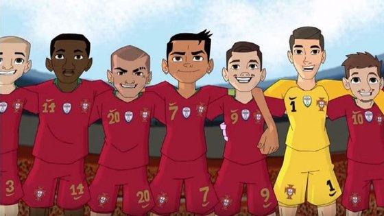 Pepe, William Carvalho, Quaresma, Ronaldo, André Silva, Rui Patrício e Bernardo Silva em versão desenho animado