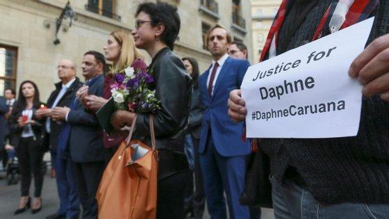 Uma das vigílias para que se faça justiça pela morte da jornalista Daphne Caruana Galizia