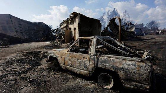 Serração da cidade espanhola de As Neves praticamente destruída pelo fogo de 17 de outubro de 2017 que teve origem em Portugal