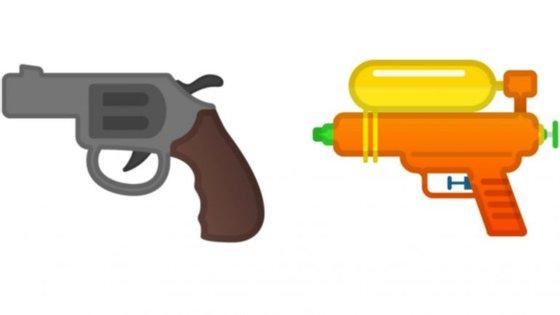À esquerda o atual emoji da arma disponível nas plataformas Google. À direita a nova versão