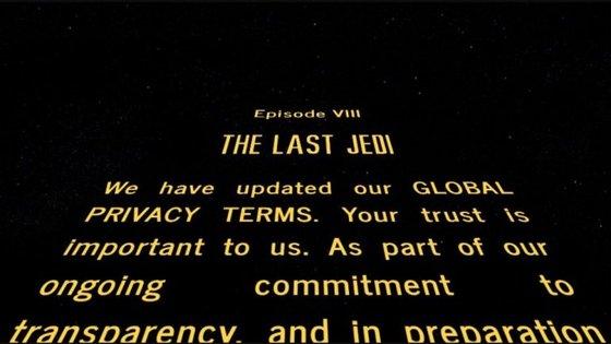 O realizador do último filme da saga Star Wars brincou com os termos de privacidade que foram atualizados em inúmeros sites e o genérico dos filmes