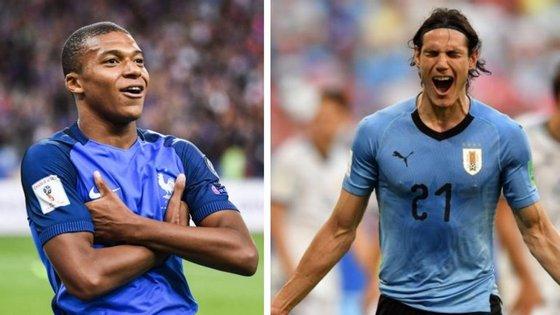 Mbappé e Cavani, ambos do PSG, vão enfrentar-se no primeiro jogo dos quartos de final do Mundial da Rússia