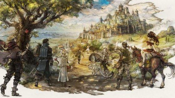 Os oito protagonistas do jogo, cujas iniciais formam a palavra Octopath.