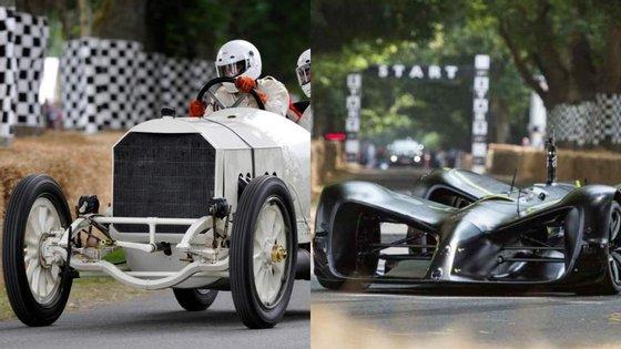 110 anos separam estes dois carros de competição. Um pertence ao passado e o outro ao futuro, mas juntos provam a impressionante evolução registada pela industria automóvel neste último século