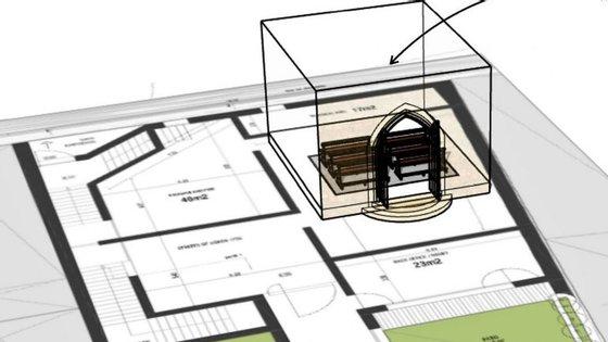 O visitante é convidado a entrar numa igreja virtual e aí sentirá os efeitos do tremor de terra