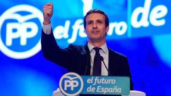 Pablo Casado sucedeu a Mariano Rajoy na liderança do PP