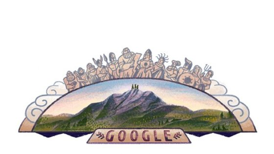 No 'doodle' desta quinta-feira é possível ver três pessoas no topo do Monte Olimpo