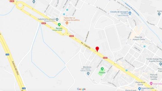 O acidente aconteceu na avenida Logroño, no bairro Casetas, em Zaragoza (Espanha)