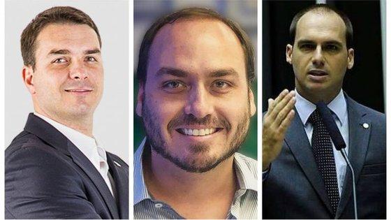 Flávio (deputado), Carlos (vereador) e Eduardo (deputado) seguiram todos as pisadas do pai.