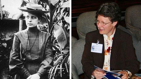 Lise Meitner (à esquerda) e Jocelyn Bell Burnell, as duas cientistas que viram os Nobel da Física serem atribuídos às pessoas com quem trabalhavam