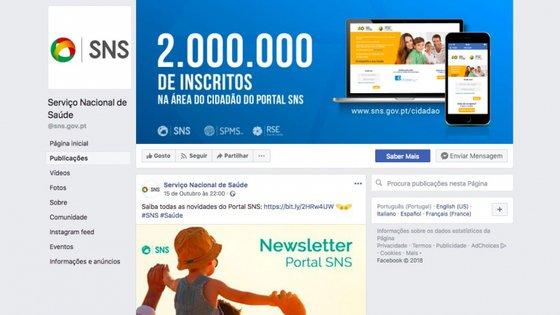 A última publicação da página de Facebook do SNS é de 15 de outubro, dia da tomada de posse da ministra Marta Temido