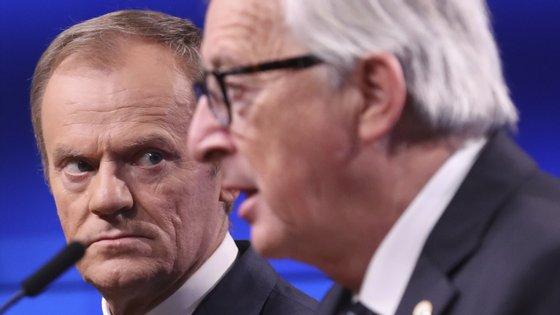 Os presidentes do Conselho Europeu e da Comissão Europeia, Donald Tusk e Jean-Claude Juncker