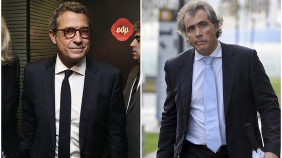António Mexia, presidente executivo da EDP (à esquerda), e João Medeiros, seu advogado (à direita).