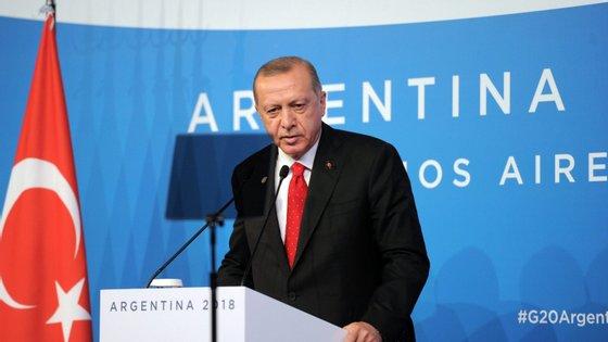 Erdogan falava na cimeira do G20, em Buenos Aires