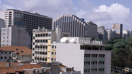Vista de hotéis no Marquês de Pombal, em Lisboa, Portugal