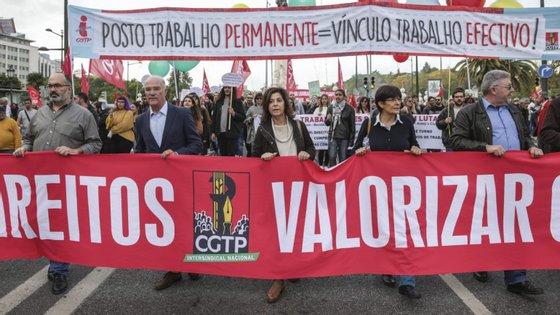 Manifestação nacional promovida pela Intersindical, entre a praça do Marquês e os Restauradores, com o objetivo de reivindicar aumentos de salários para os trabalhadores, pela fixação do salário mínimo em 650 euros.