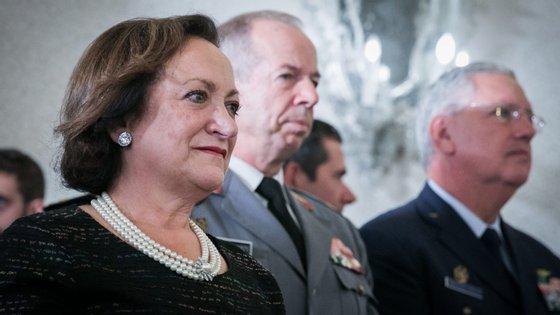 Joana Marques Vidal na tomada de posse da sua sucessora na Procuradoria-Geral da República no dia 12 de outubro de 2018