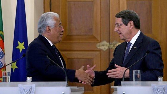 """António Costa desejou ao Governo do Chipre """"o maior sucesso nas negociações que se encontram em curso e que se espera que cheguem a bom termo"""""""