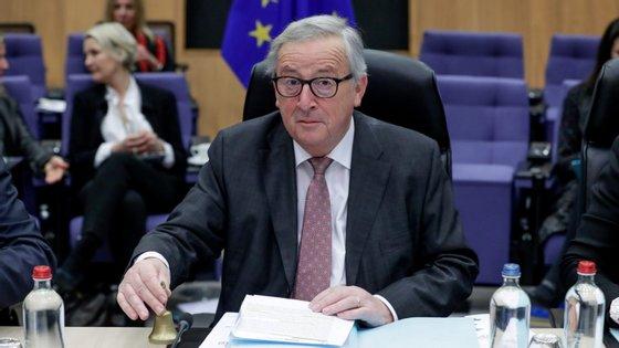 Jean-Claude Juncker, presidente da Comissão Europeia interveio no início do debate dedicado ao Brexitna mini-sessão plenária do Parlamento Europeu