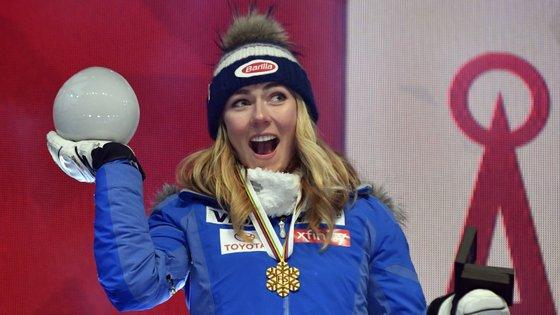 Mikaela Shiffron começou da melhor forma o Campeonato do Mundo de Esqui Alpino, em Are, na Suécia