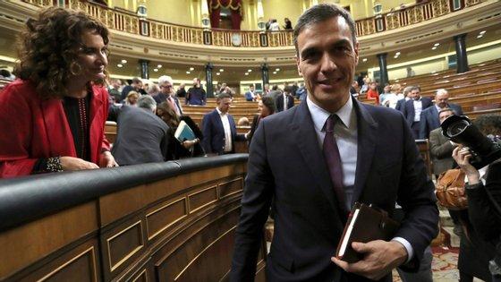 Pedro Sánchez durante o debate do Orçamento na terça-feira