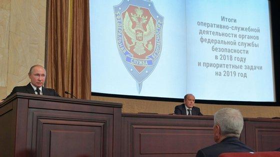 Vladimir Putin fala durante a reunião anual do Serviço Federal de Segurança (FSB), Moscovo, 6 de março de 2019